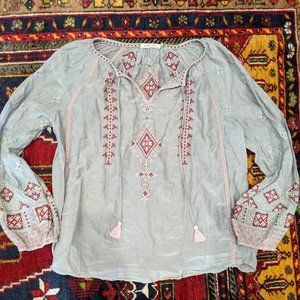 Johnny Was Size S Gray Embroidered Peasant Blouse